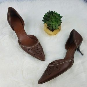 SALVATORE FERRAGAMO Cutout Leather Kitten Heels